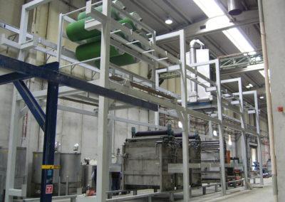 Vista di struttura metallica per linea di produzione